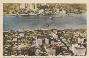 Downtown WINDSOR, Ontario, 1930s; Detroit River & City of Detroit in Background