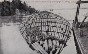 Washington Log Raft On Columbia River Ready For Voyage On Pacific Ocean 1908
