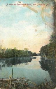 near Pittsfield, Maine, ME, View on Sebosticook River, Vintage Postcard b5344