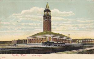 Washington Seattle Trains At Union Railroad Depot 1908