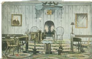 Interior view of old Lodge, Alexandria, Washington, 1908