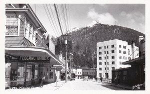Alaska Ketchikan Mission Street Showing Federal Drug Store Real Photo sk926