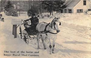Kents Hill ME R.F.D. Mail Carrier Horse & Wagon 1938 RPPC Postcard