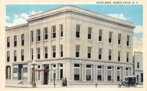 B44/ Seneca Falls New York NY Postcard c1920 State Bank Building