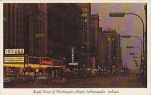 Indiana Indianapolis Night Scene of Washington Street Curteich