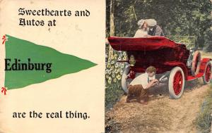 Sweethearts & Autos at Edinburg Illinois~Are the Real Thing~1913 Pennant PC