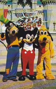 Florida Walt Disney World Goofy Mickey And Pluto Pose With One Of The Many Di...