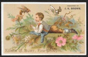 VICTORIAN TRADE CARD EC Burt Fine Shoes Well Dressed Boy Bee & Flowers