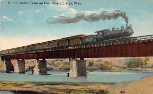 D67/ Fort Steele Bridge Wyoming c1910 Postcard Railroad Union Pacific Locomotive