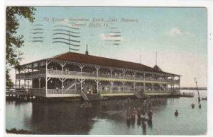 Kursal Manhattan Beach Lake Manawa Council Bluffs Iowa 1915 postcard