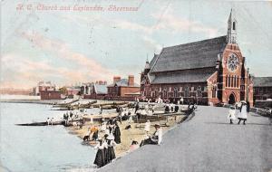 SHEERNESS KENT UK CATHOLIC CHURCH & ESPLANADE VALENTINE SERIES POSTCARD 1905 PM