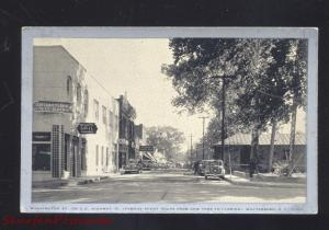 WALTERBORO SOUTH CAROLINA DOWNTOWN STREET SCENE 1930's CARS OLD POSTCARD