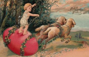 EASTER, PU-1907; Child riding red egg pulled by sheep, gold detail, PFB 5837