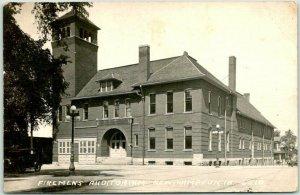 NEW HAMPTON, Iowa RPPC Real Photo Postcard FIREMEN'S AUDITORIUM 1954 Cancel