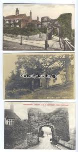 tb0155 - Sussex - Strand Gate & Ellen Terrys Cottage - Winchelsea - 3 postcards