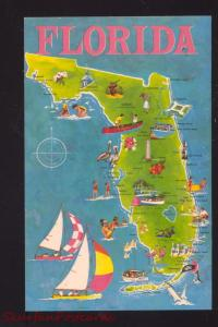 STATE OF FLORIDA MAP POSTCARD SAILBOAT FLA.
