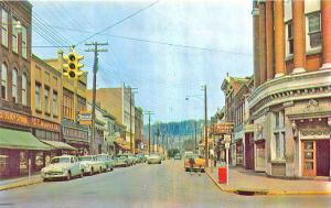 Moundsville WV Street View Store Front's Old Cars Postcard