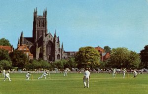 Cricket and Worcester Cathedral in England