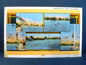 Postcard KS Garden City Multiview of the Swimming Pool