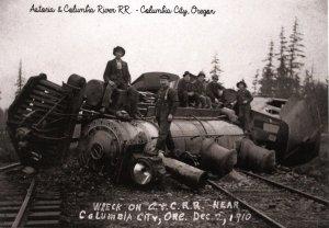 OR - Columbia City. Train Wreck, Dec. 2, 1910. Astoria & Columbia RR (5.75 X...