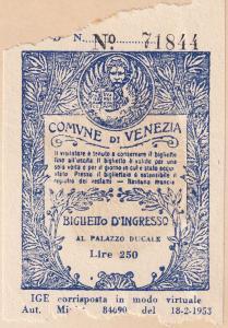 Comune di Venezia Palazzo Ducale Old Museum Receipt