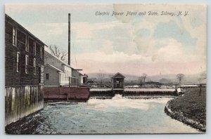 Sidney New York~Electric Power Plant & Footbridge Across Dam~Owens Bros~c1905 PC