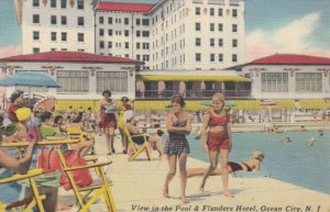 OCEAN CITY , New Jersey , 1930-40s ; Flanders Hotel & Swimming Pool