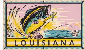 Louisiana Fishing Self Stick Postcard