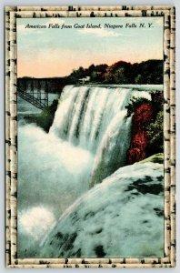 Niagara Falls NY~Birch Bark Border Series~American Falls @ Goat Island~c1910 PC