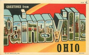 Carle Teich Large Letters Multi View Painesville Ohio 1950s Postcard 20-13062