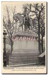 Paris Old Postcard equestrian statue of Louis XIII Square des Vosges