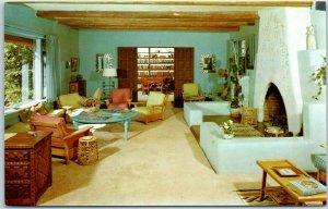 Tucson AZ Postcard HACIENDA DEL SOL RANCH RESORT Living Room / Library c1950s
