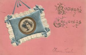 BIRTHDAY GREETINGS 1907 ANTIQUE POSTCARD w/ APPLIQUE PHOTO