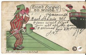 1909 Undivided Back Postcard Don't Forget to Write Man Calling from Dock