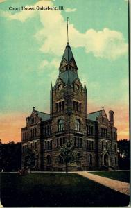 Galesburg IL~12:35 PM~After Lunch, Take The Corner Path to the Courthouse~c1910