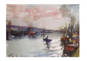 Art Postcard Puerto de Bilbao, Spain by Javier Clavo (1986) K75
