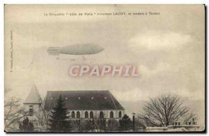 Old Postcard Jet Aviation Airship City of Paris through Lagny going in Verdun...