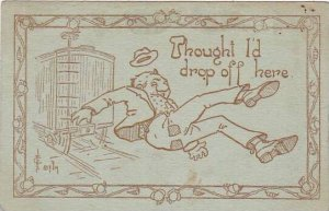 Fred Cavally Comic Verse Series Thought I'd drop off here 1910
