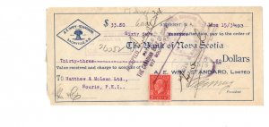 1934 A E Wry Standard, Sackville New Brunswick, Cheque w Postage Stamp, Souris