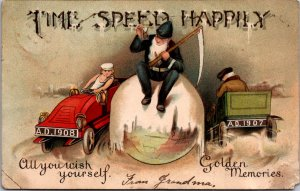 1908 early race car sports car Old Man New Years hourglass scythe gnome globe