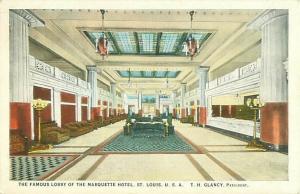 St. Louis, Missouri Marquette Hotel Lobby White Border Postcard
