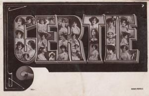 A Girls Named Called GERTIE Antique Theatre Star Actress Name RPC Postcard