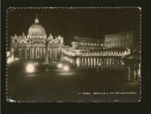 Postmarked 1970 Roma Italy Basilica S Pietro at Night Real Photo Postcard