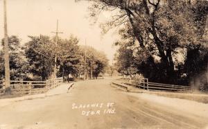 Dyer Indiana~South Adeway Street Bridge~Sidewalk Rails~Dirt Road~1920s RPPC