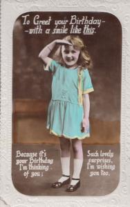 Happy Birthday Greeting With A Smile Children Surprise Military Salute Postcard