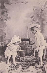 Jack & Jill 1905 Happy Christmas Old Nursery Rhyme Greetings Postcard