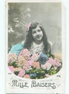 tinted rppc c1910 GIRL WITH FLOWERS AC9045