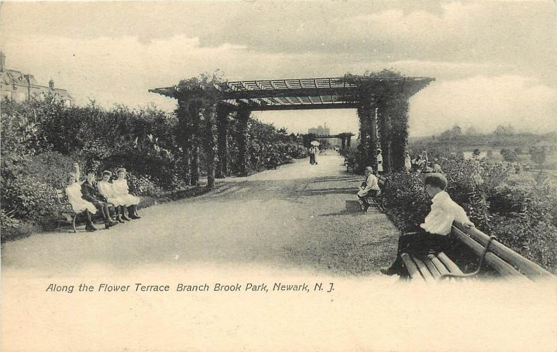 c1905 Postcard Along Flower Terrace, Branch Brook Park, Newark NJ Essex County