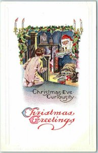 Vintage Christmas Postcard SANTA CLAUS w/ Toy Ship & Spying Little Boy c1910s