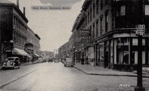 Rockland Maine~Main Street~Thorndike Hotel~Western Union Telegraph~Barber~1930s